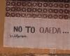 Pintada en contra de la organización terrorista Al Qaeda, en una calle de Derna, Libia