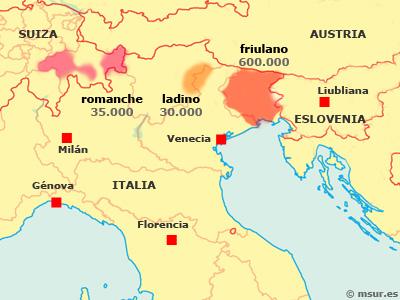 rético, retorromano, romanche, ladino, friuliano