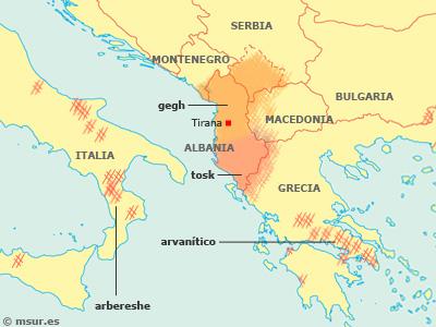 albanés, gegh, tosk, arvanítico, arbereshe