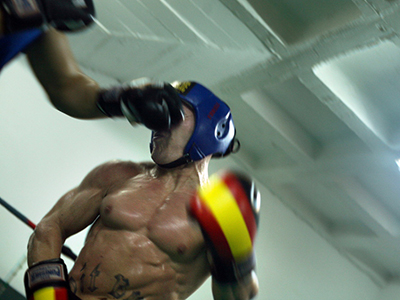 'Pitbull' recibe un directo durante un entrenamiento (Sevilla, 2008)  | © manutrillo