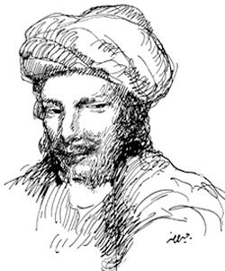 El poeta árabe Abu Nuwas (recreación) | Khalil Gibran (Al Funun, 1916)