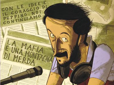 Peppino Impastato, en la portada del libro |  © Becco Giallo
