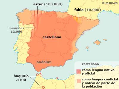 Idioma castellano, astur, fabla, haquitía. Difusión