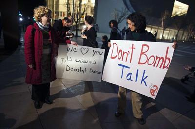 Protestas contra la guerra ante la casa de E. Barak
