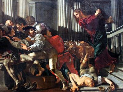 Caravaggio: Jesús expulsa a los mercaderes del templo (1610) | Dom. públ.