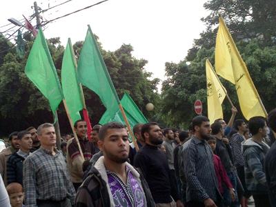 Desfile de Hamas y Fatah tras el alto el fuego de Nov 2012 en Gaza  |  © Carmen Rengel/M'Sur