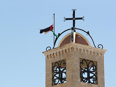 Iglesia melkita (con bandera palestina) en Belén (2013) |  ©  I. U. Topper