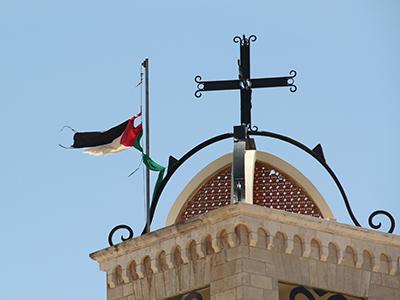 Iglesia católica melkita con la bandera palestina en Belén (2013) | ©  Ilya U. Topper / M'Sur