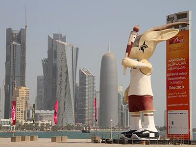 Mascota del campeonato atlético 2010, en Doha | © Nacho Prieto