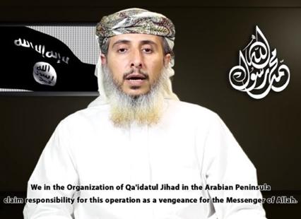 Nasr Bin Ali Al Anesi, líder militar de Al Qaeda en la Península Arábiga, reivindica el atentado contra «Charlie Hebdo» | Captura de pantalla