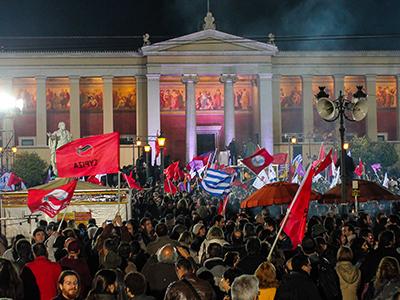 Votantes de Syriza celebran la victoria en Atenas (25 Ene 2015) | @ Javier Pérez de  la Cruz